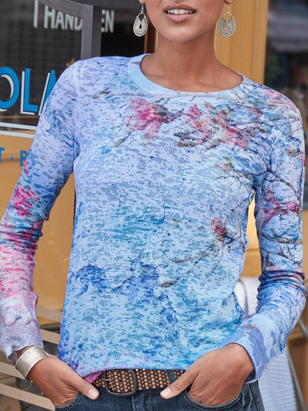 Blue Long Sleeve Printed Crew Neck Floral Plus Size Blouse