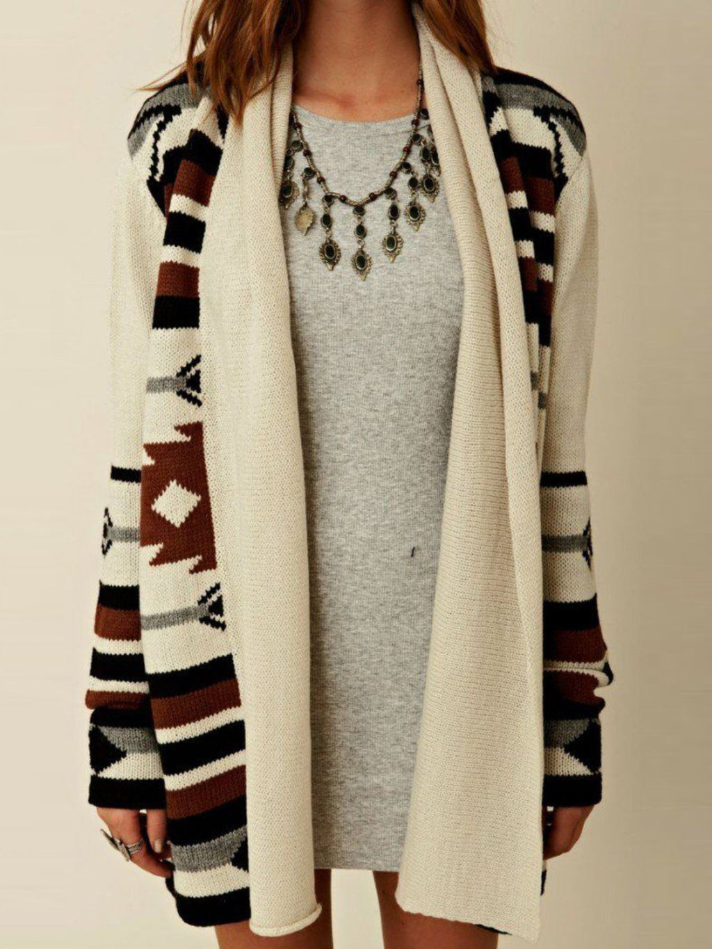 Beige Printed/dyed Long Sleeve Casual Knitted Outerwear
