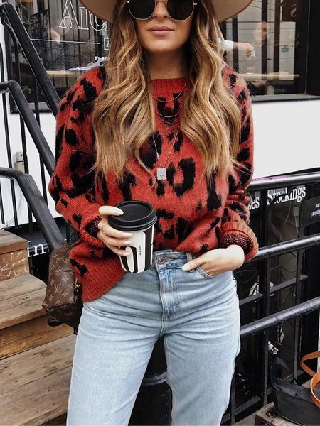 Yellow Long Sleeve Vintage Crew Neck Leopard Sweater