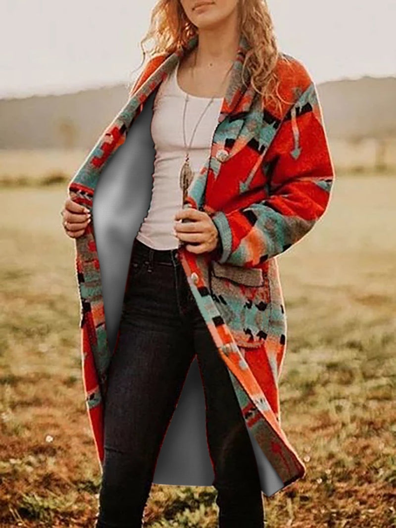 Color-block Boho Patchwork Knitted Outerwear Cardigan