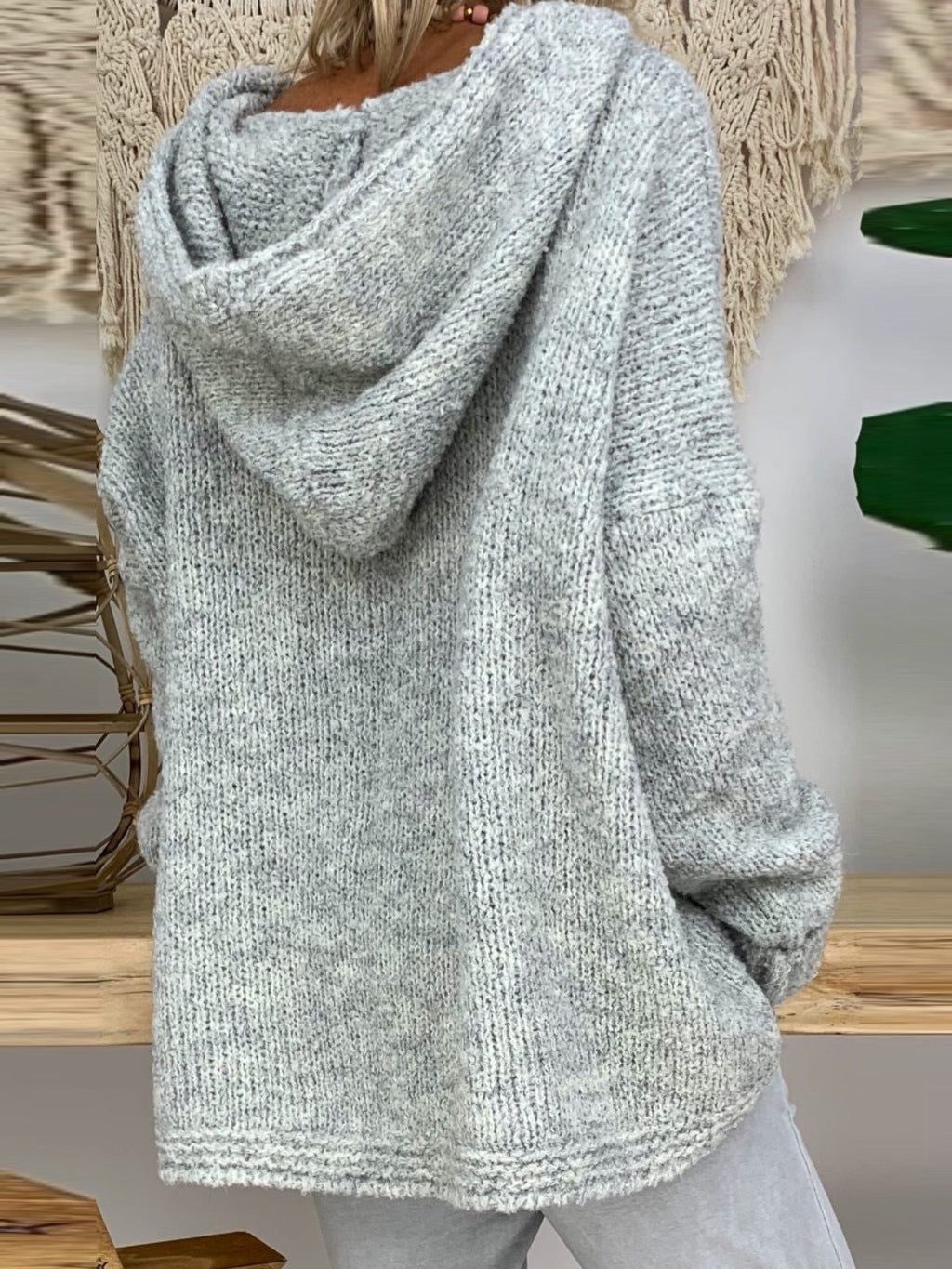 Casual Solid Shift Knitted Hoodie Sweater