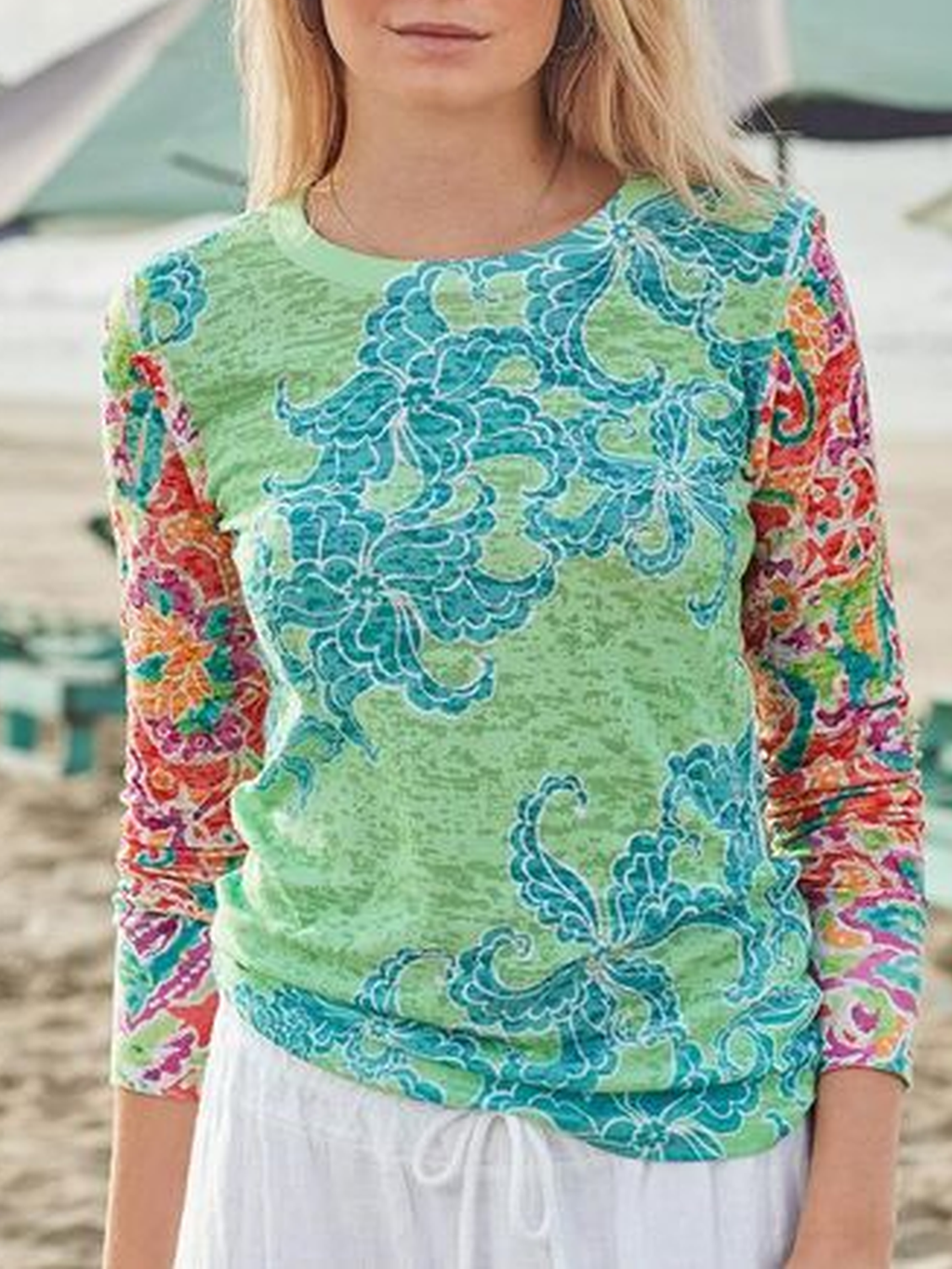 Printed Casual Long Sleeve Shirts & Tops