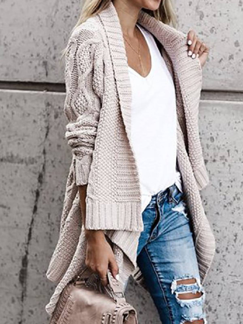 Apricot Knitted Long Sleeve Outerwear