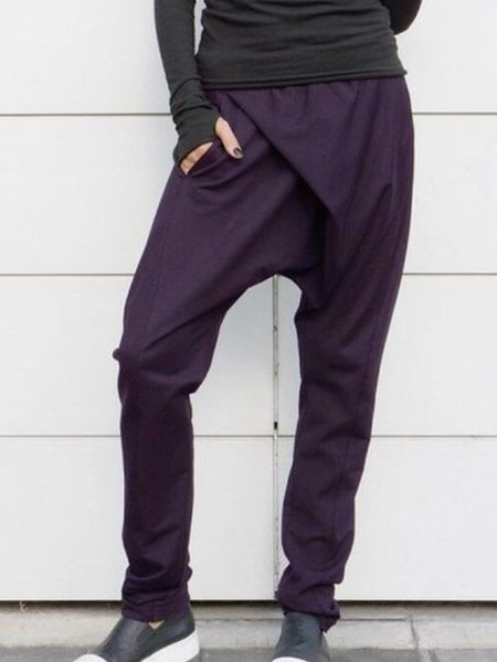 Cotton-Blend Casual Solid Pants