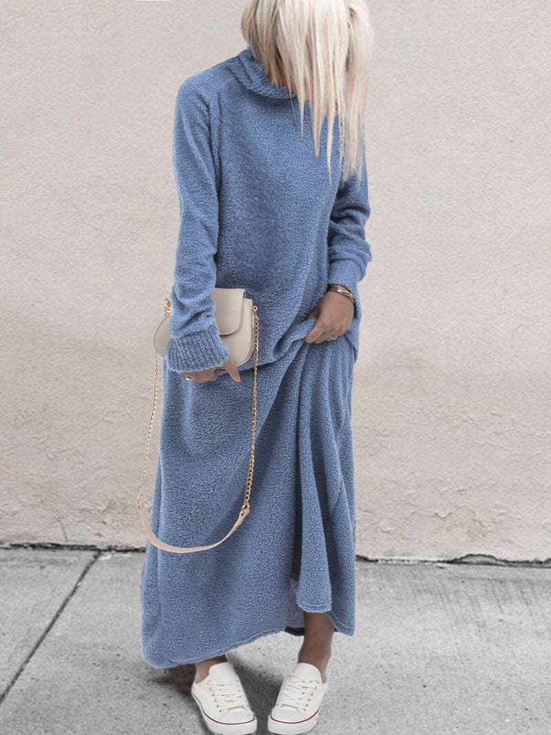 Plus Size Casual Turtleneck Long Sleeve Maxi Dresses