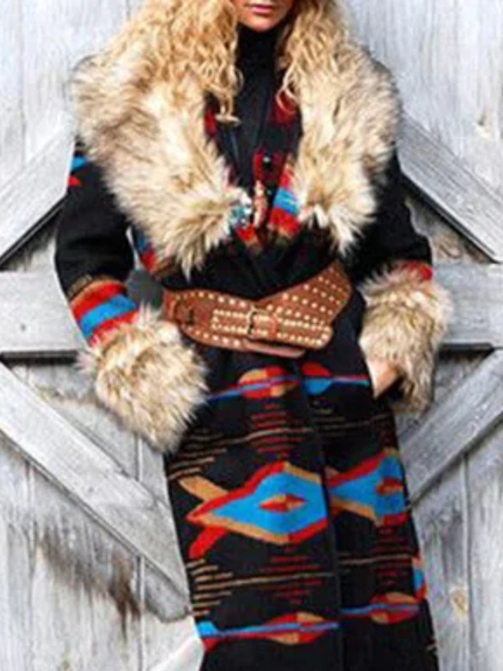Printed Color-Block Patchwork Boho Outerwear