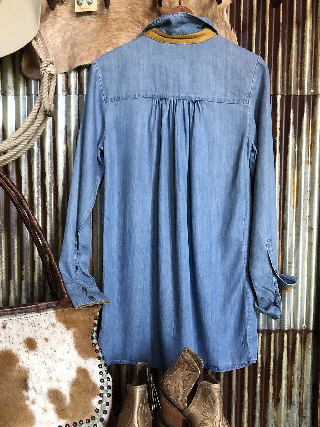 Shawl Collar Vintage Denim Shift Shirts & Tops