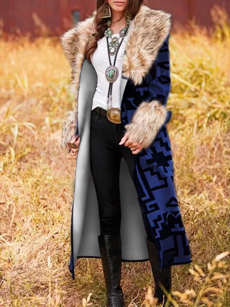 Multicolor Patchwork Shawl Collar Long Sleeve Outerwear Winter Coats