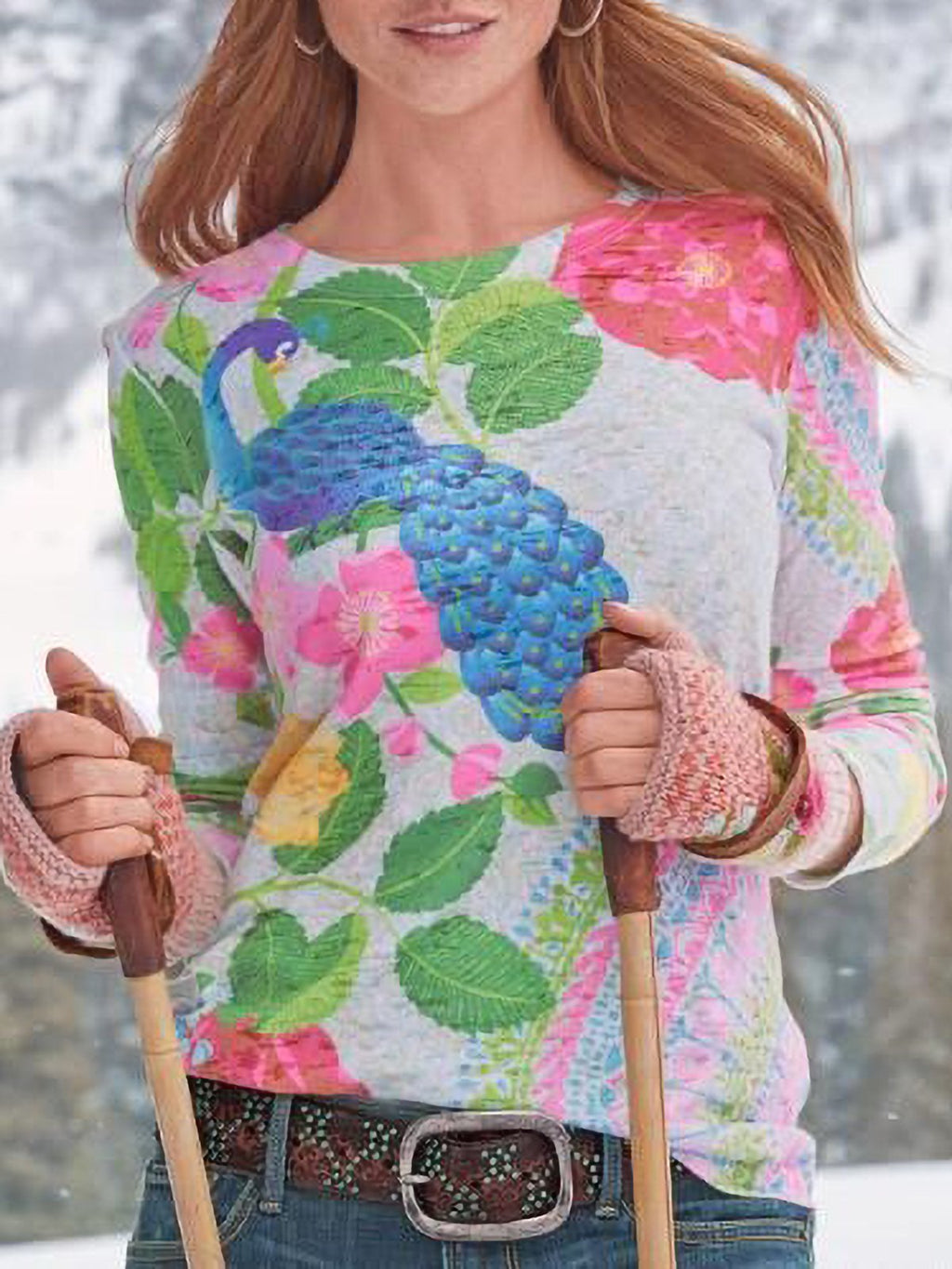 Floral-Print Long Sleeve Casual Shirts & Tops