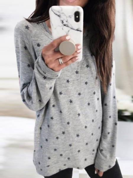 Crew Neck Long Sleeve Polka Dots Shirts & Tops