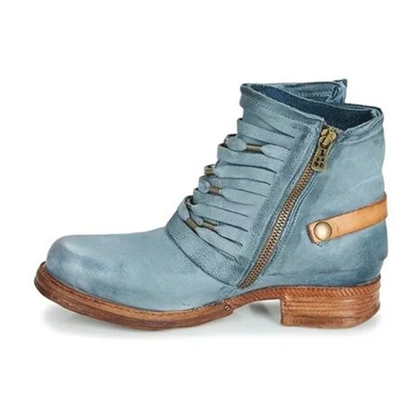 Women Fashion Leather Buckle Hollow Ankle Boots