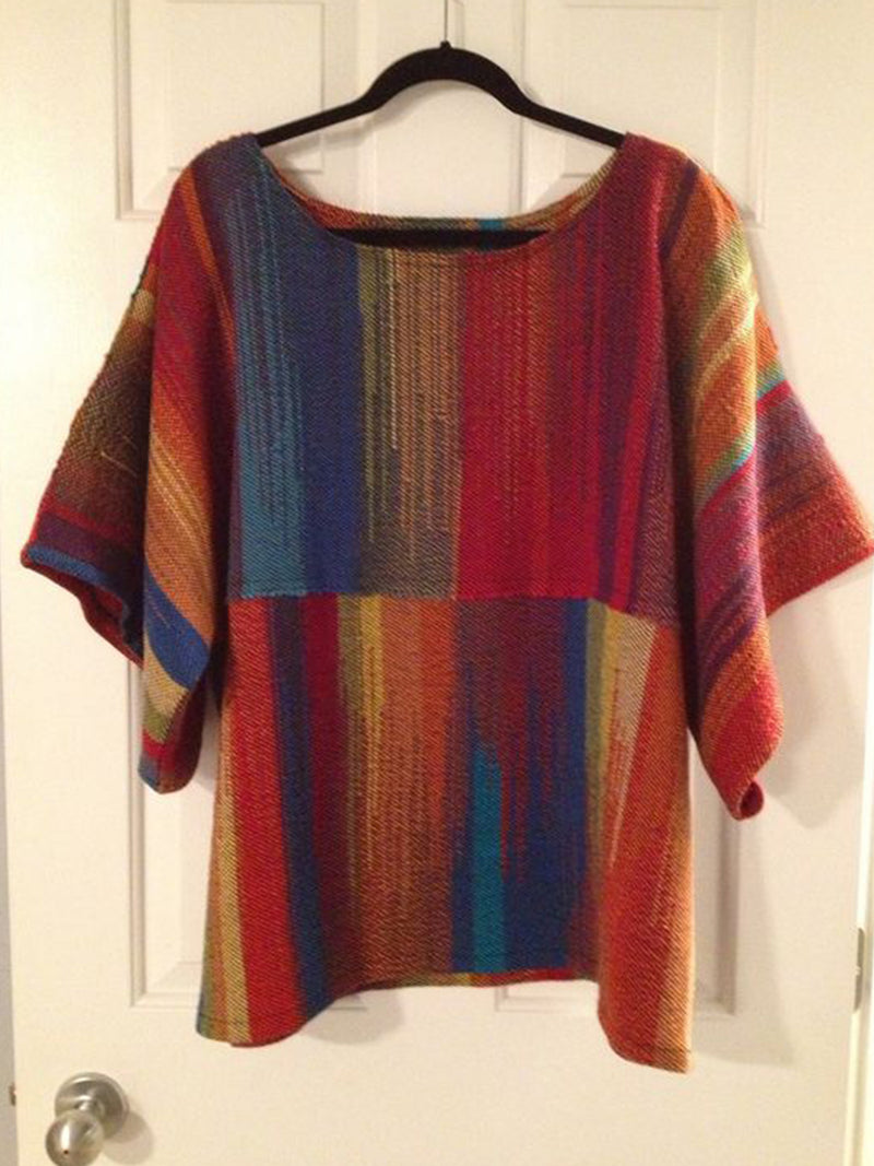 Women's  Casual Round Neck Multicolor  Stripes Shift Printed Shirts & Tops