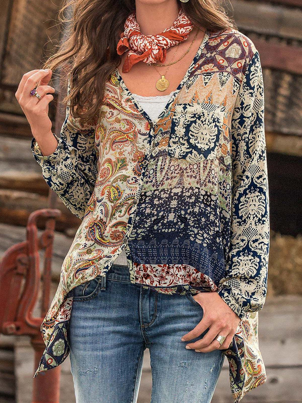 Cotton-Blend Long Sleeve V Neck Casual Shirts & Tops Tie Dye Shirts