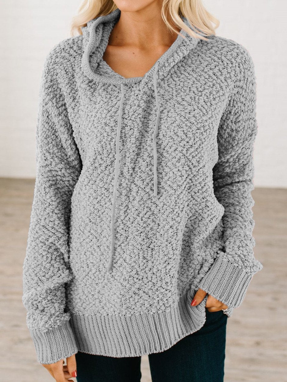 Hoodie Long Sleeve Solid Cotton-Blend Sweater
