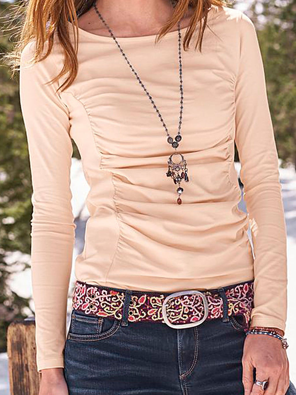 Light Pink Plain Casual Long Sleeve Scoop Neckline Shirts & Tops