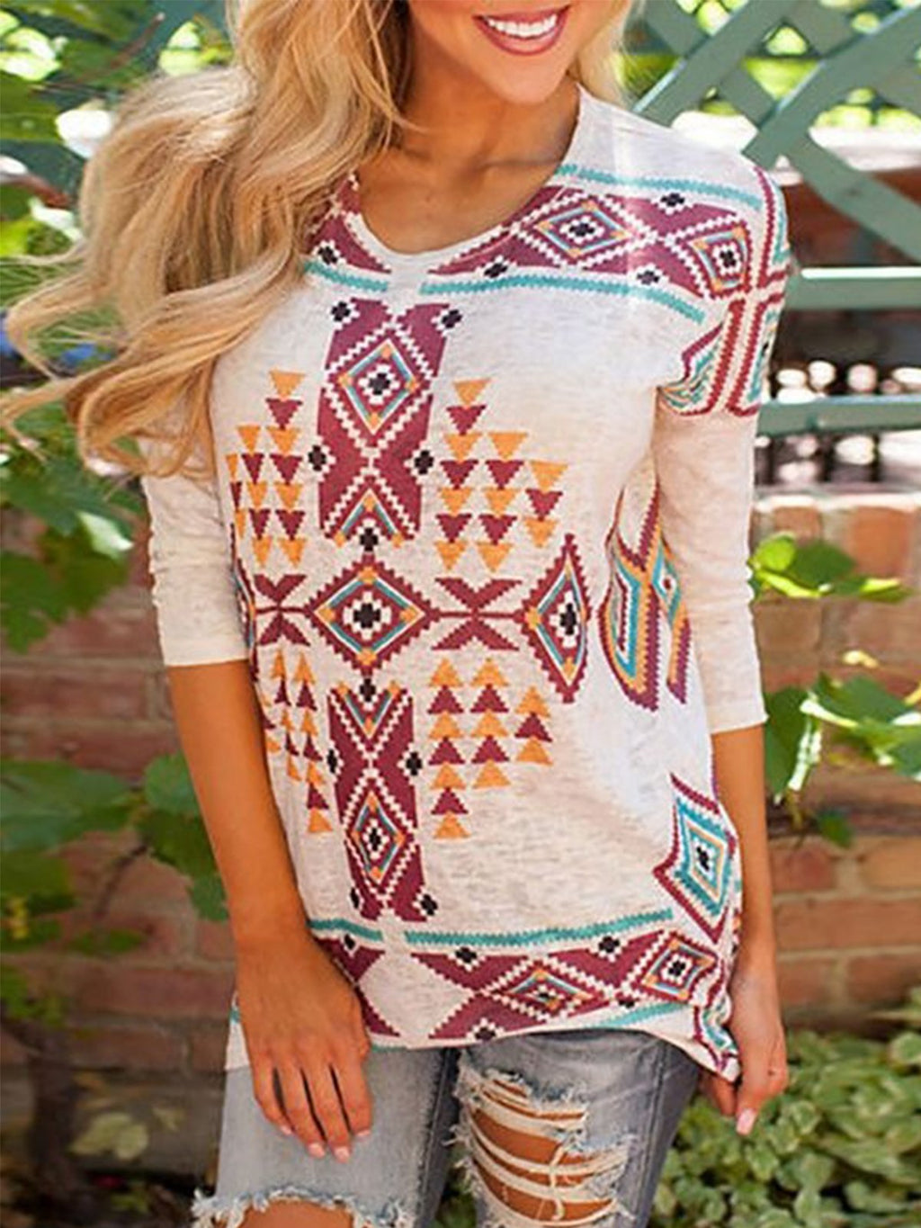 Boho Plus Size Long Sleeve Geometric Printed Casual Tops