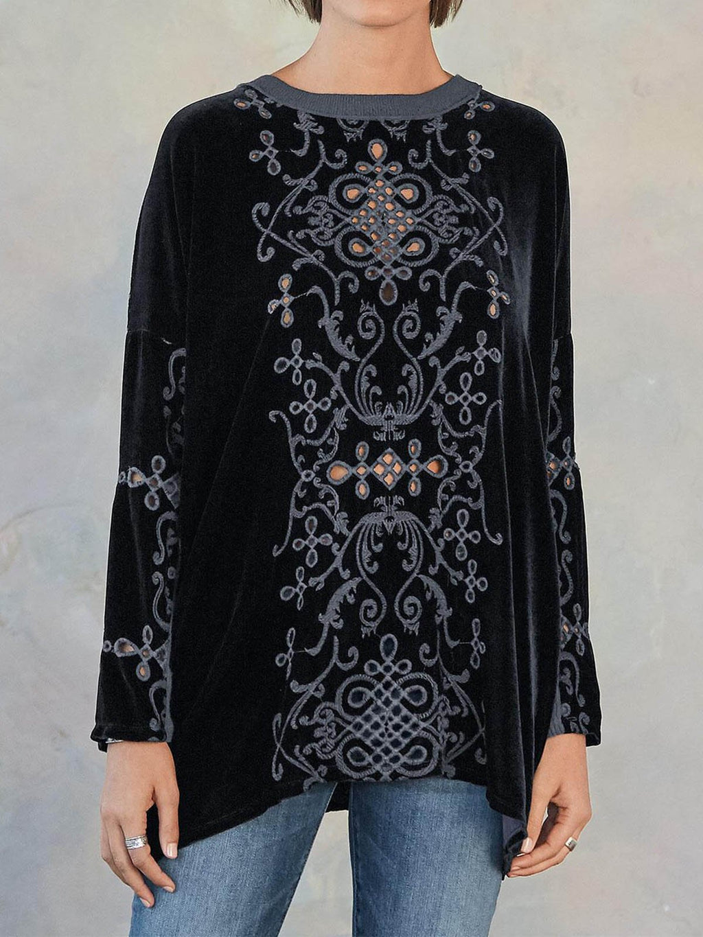 Black Casual Printed Velvet Shirts & Tops