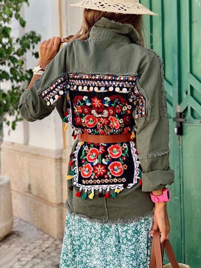 Tassel Printed Boho Color-Block Outerwear