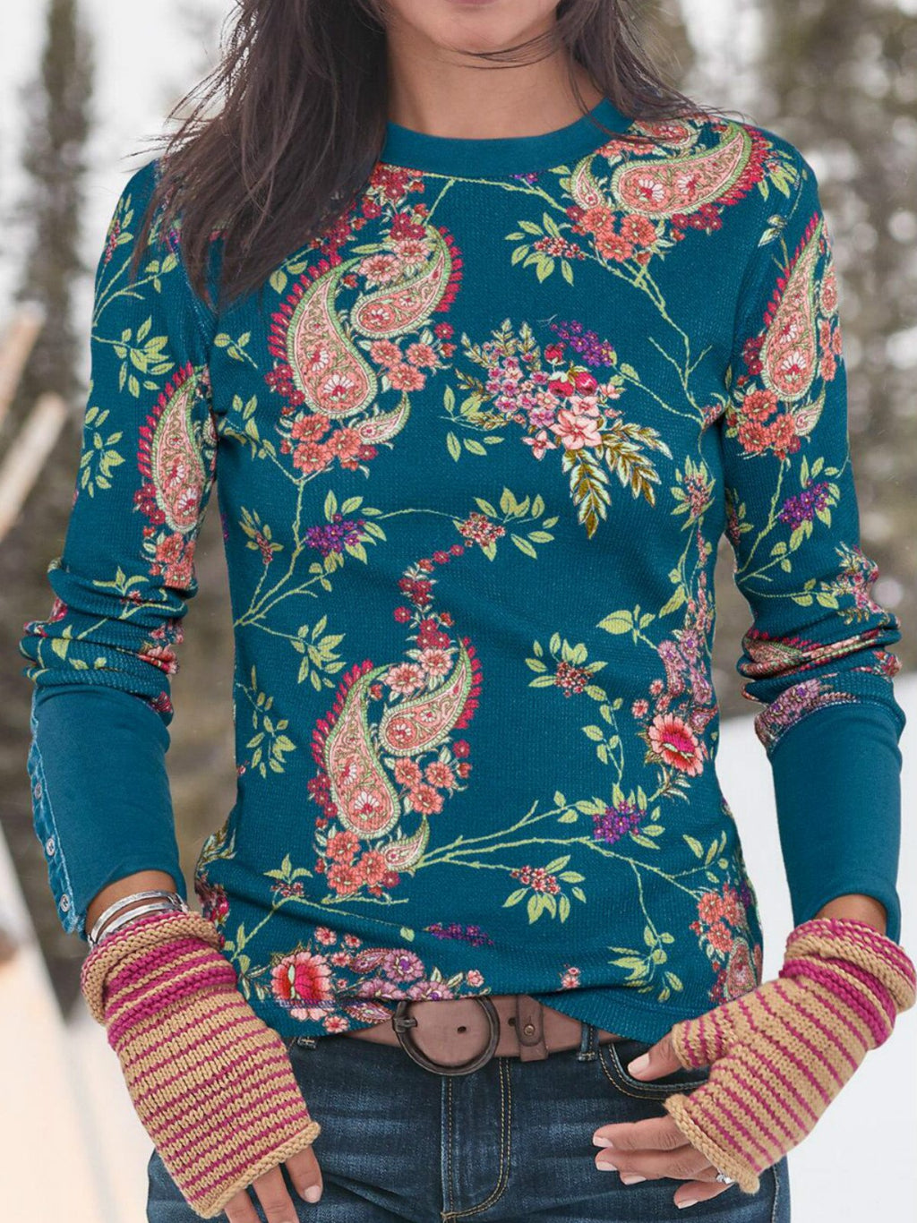 Blue Printed Long Sleeve Shirts & Tops