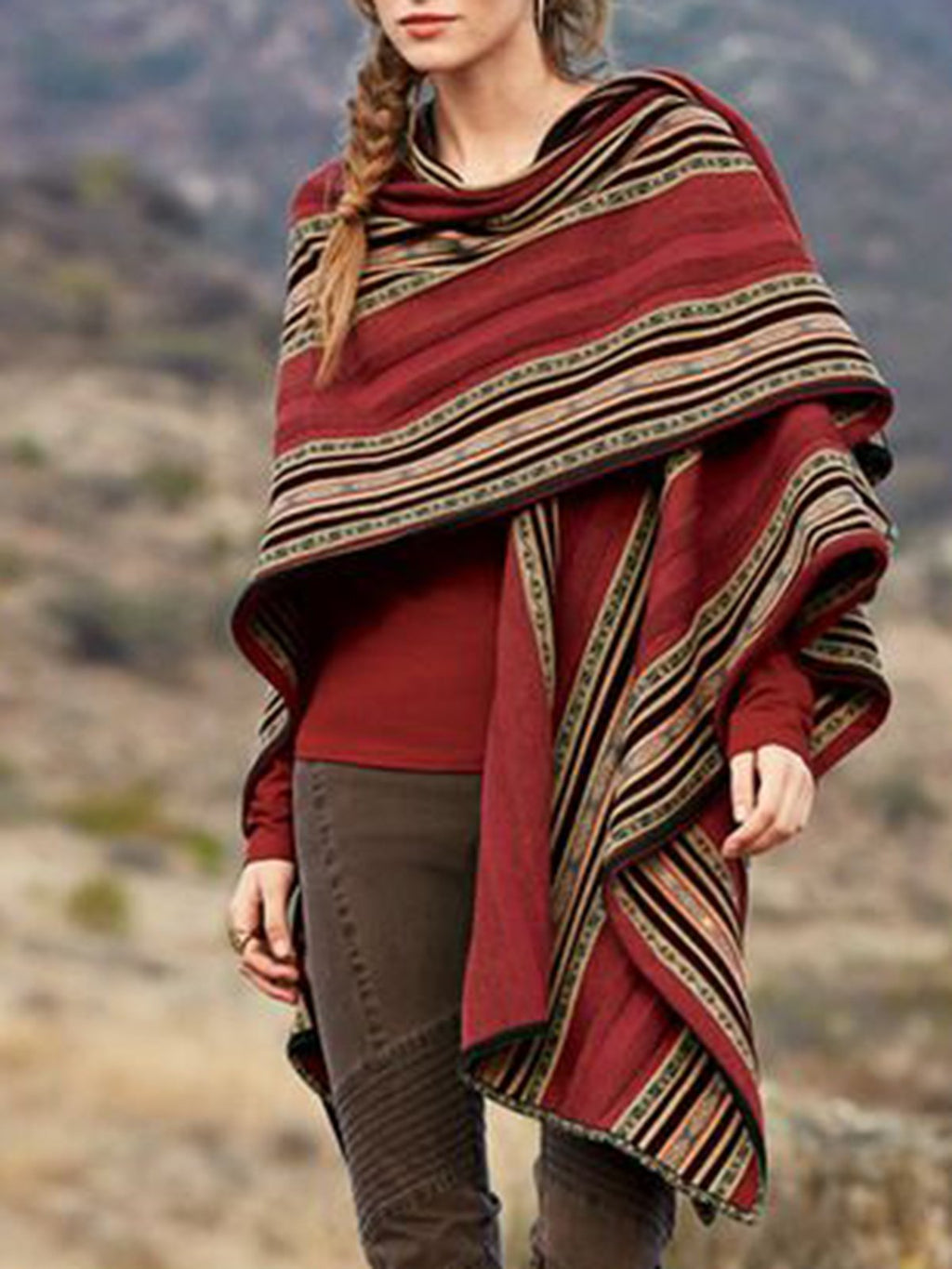 Red Knitted Holiday Geometric Scarves & Shawls