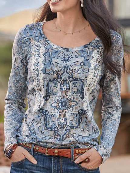 Blue O-Neck Cotton-Blend Long Sleeve Shirts & Tops