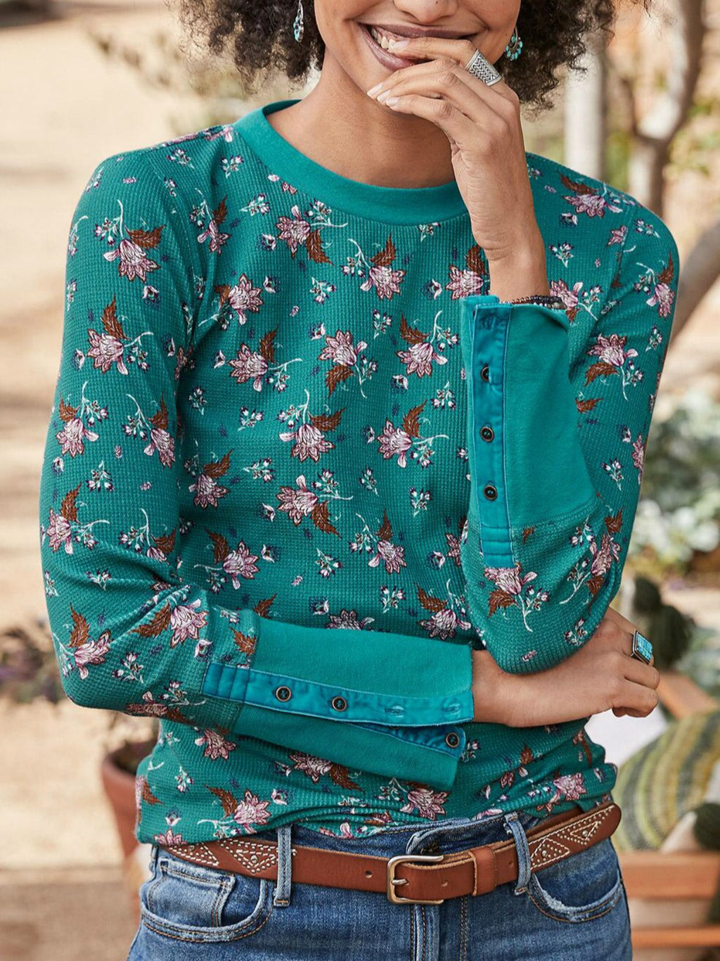 Green Printed Casual Round Neck Shirts & Tops
