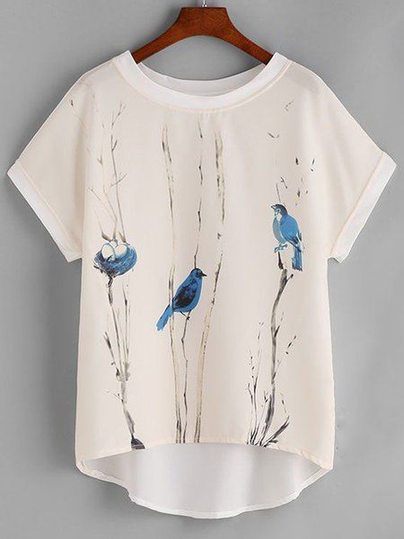 Women's  Casual Round Neck  Animal Printed Short Sleeve Shirt & Tops