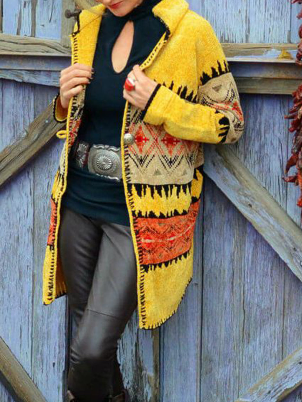 Hooded Color-block Long Sleeve Boho Knitted Outerwear