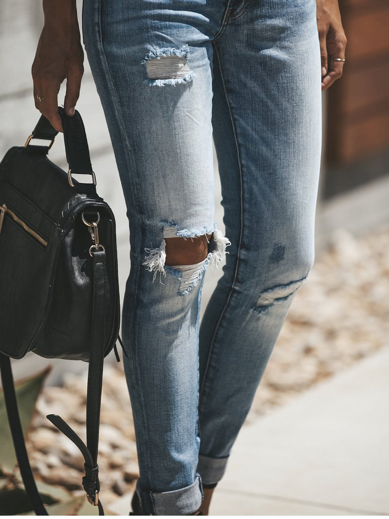 Light Blue Classic Jeans Lady's Ripped Washed Pants Bottoms