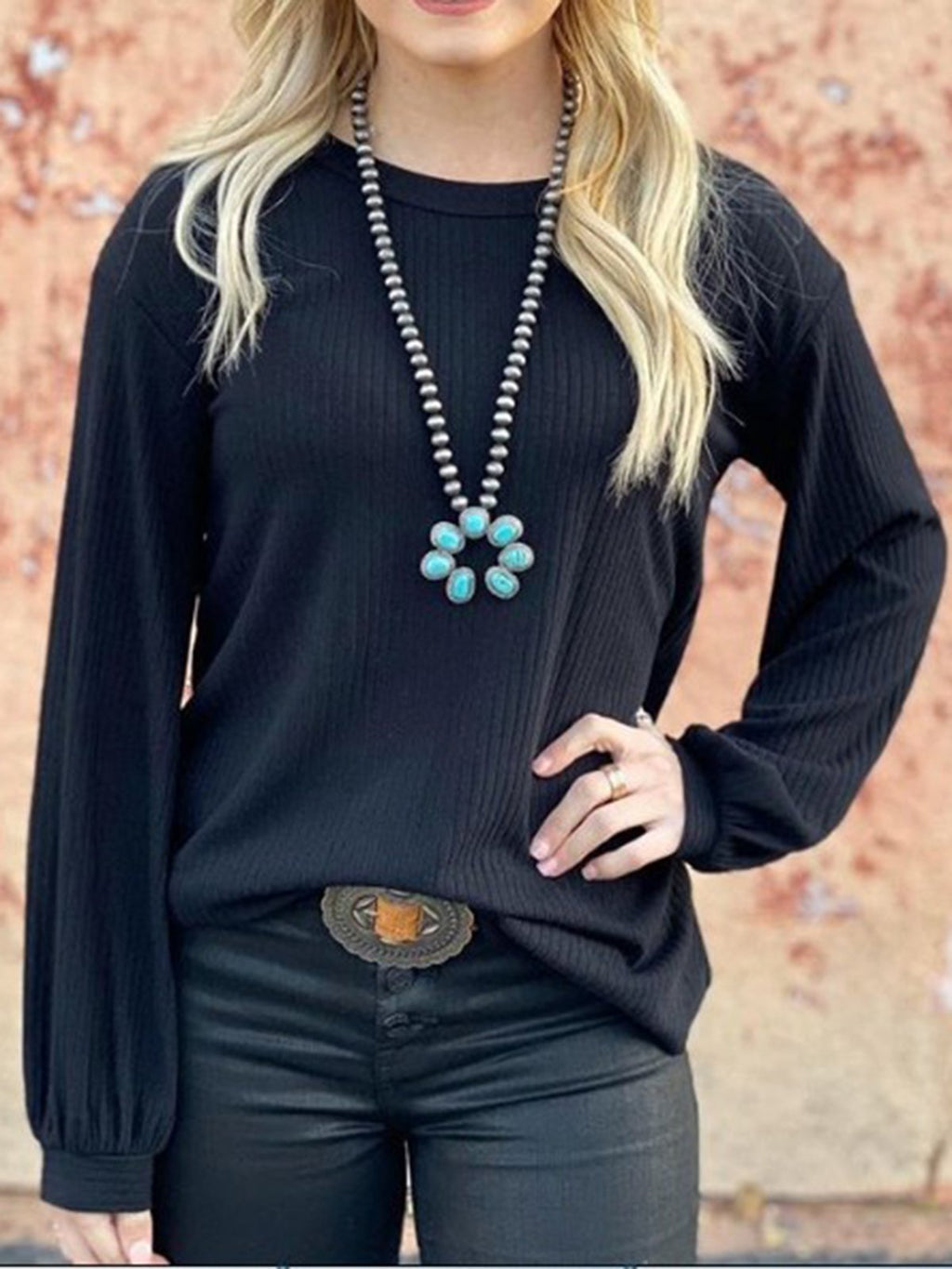Black Crew Neck Long Sleeve Shirts & Tops Sweatshirt