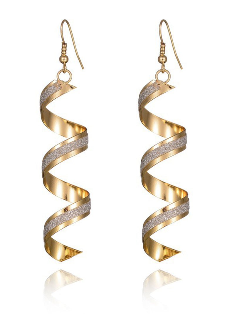 Womens Frosted Spiral Geometry Earrings