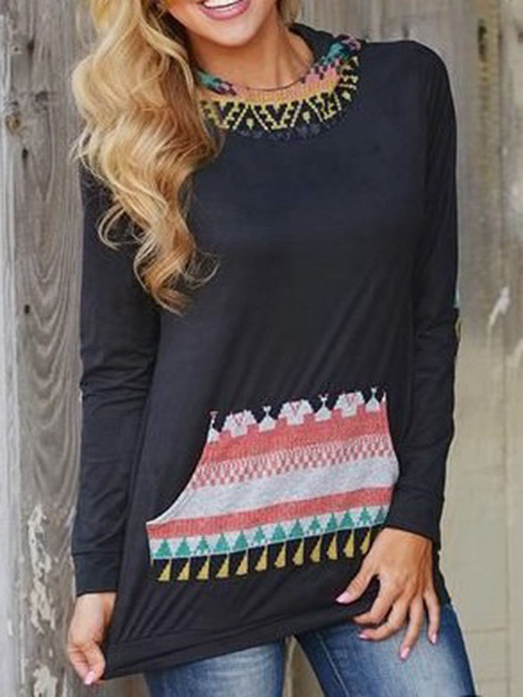 Black Shift Tribal Casual Tops