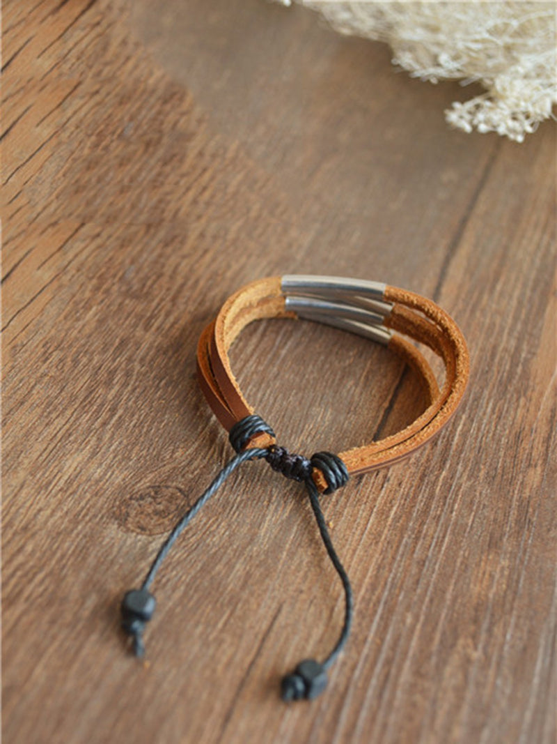 Vintage Artificial Leather Basic Bracelet