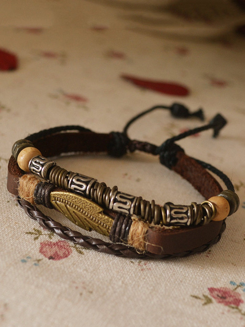 Women Vintage Leaf Artificial Leather Bracelet