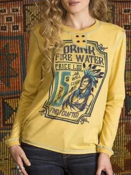 Yellow Round Neck Cotton-Blend Long Sleeve Printed Shirts & Tops