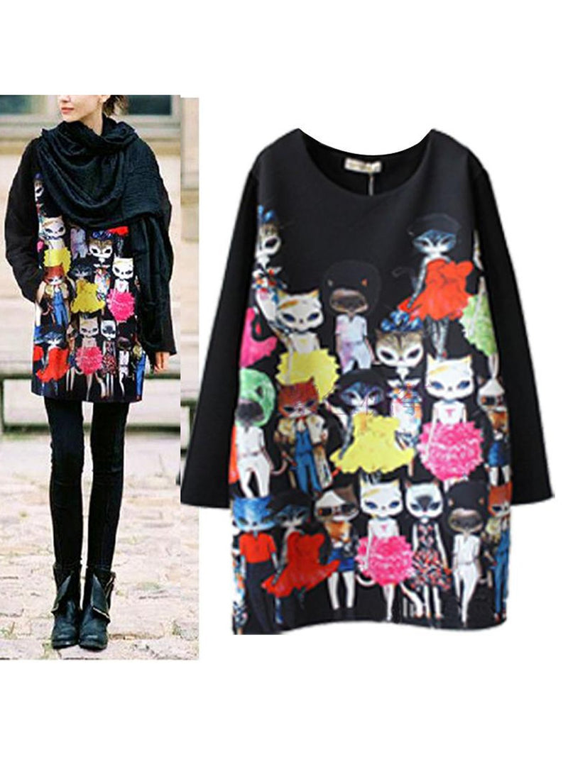 Crew Neck Black Women Dresses Shift Cotton-Blend Animal Dresses