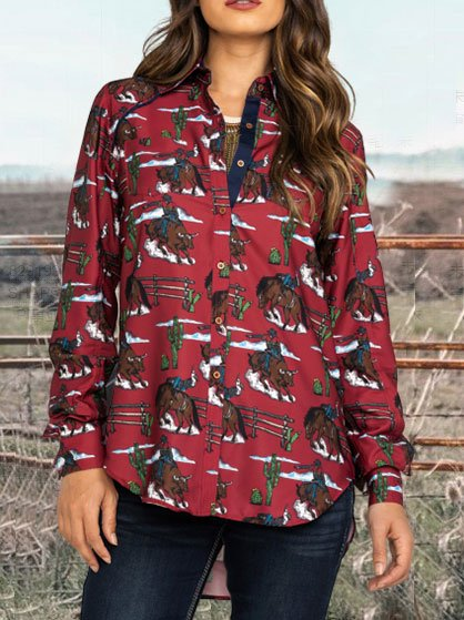 Red V Neck Long Sleeve Floral Shirts & Tops