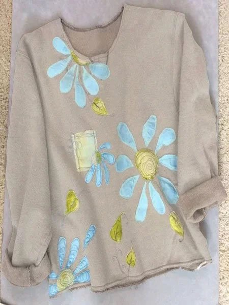 Women Light Brown Floral Long Sleeve Shirts & Tops
