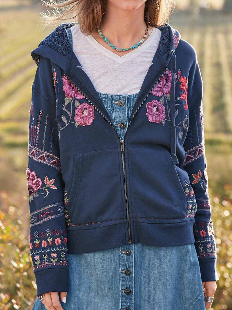 Blue Floral Cotton-Blend Boho Outerwear