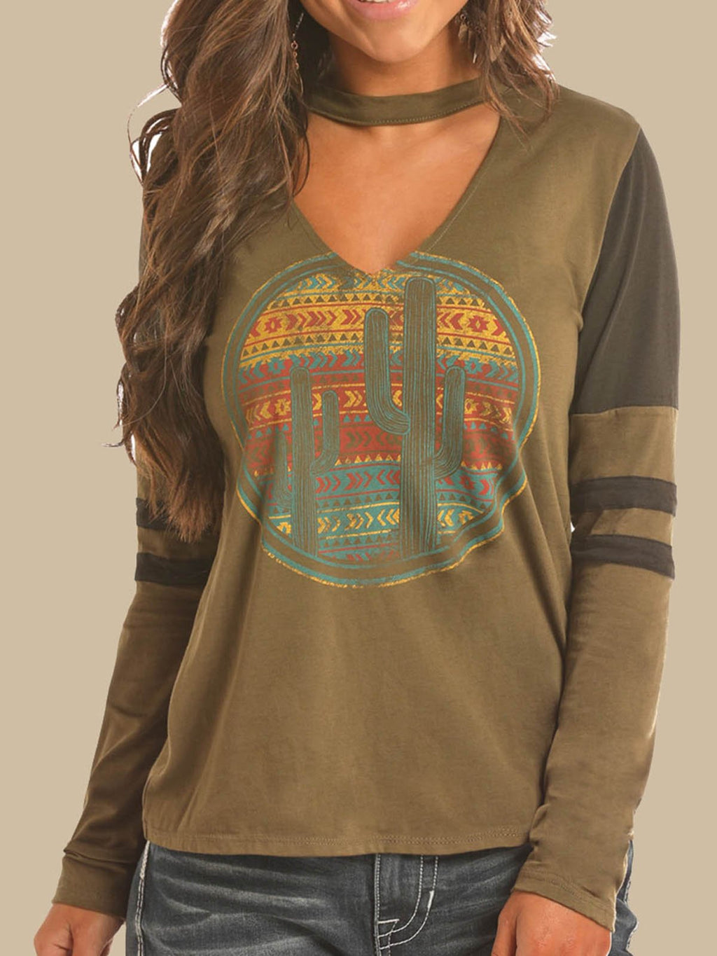 Army Green Printed Round Neck Cotton-Blend Long Sleeve Shirts & Tops