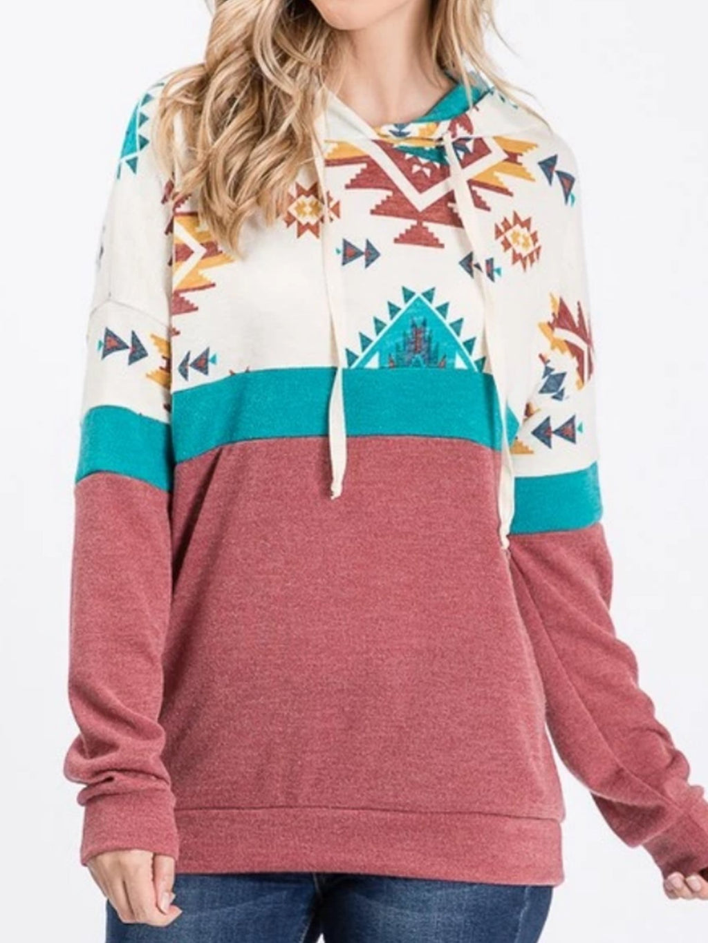 Plus Size Casual Long Sleeve Tribal Sweatshirt Hoodies
