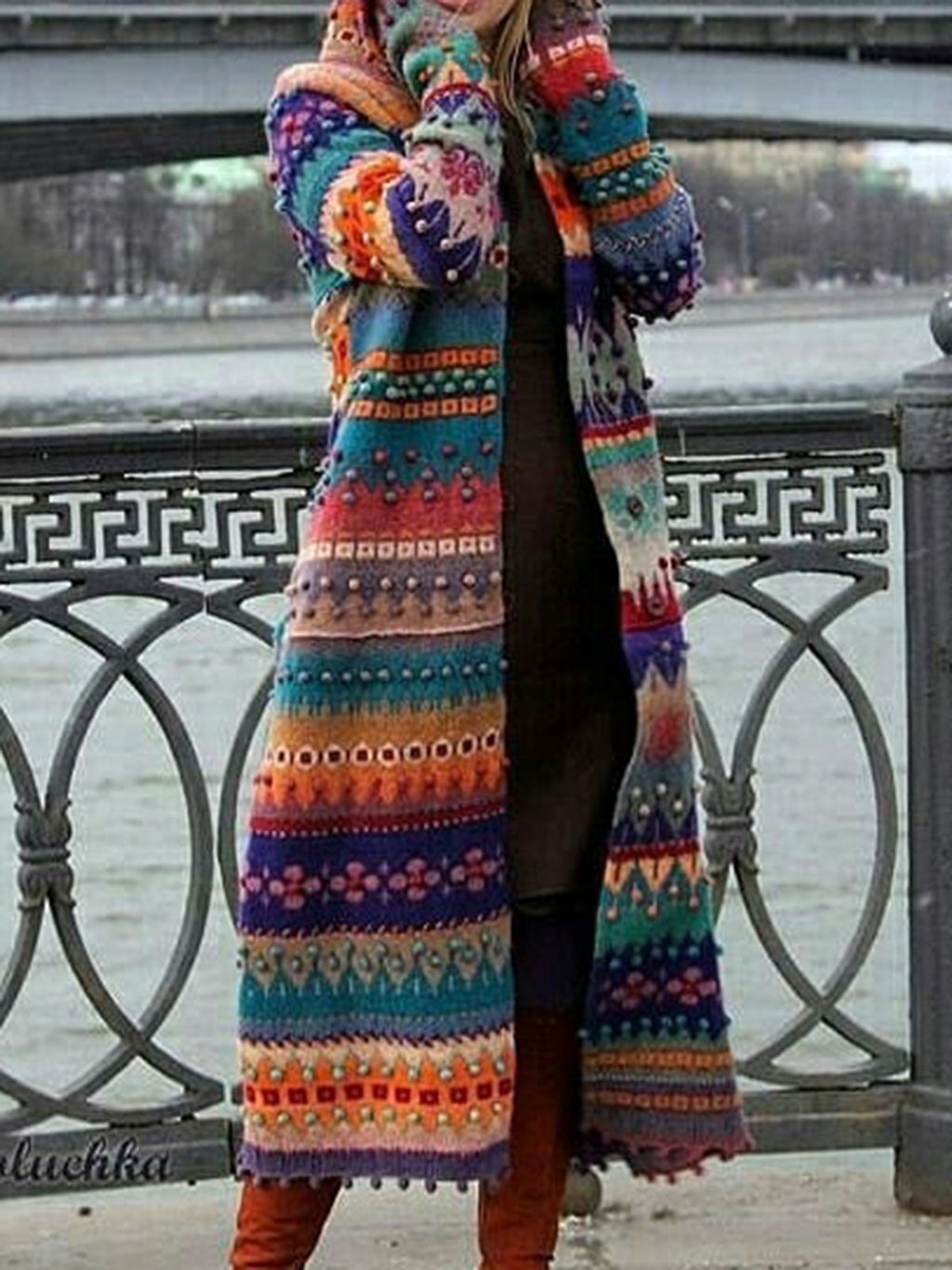 Plus Size Tribal Women Knitted Cardigans With Hoodie