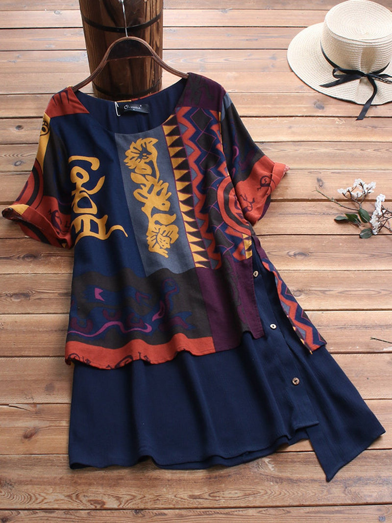 Navy Blue Short Sleeve Tribal Buttoned Shirts & Tops
