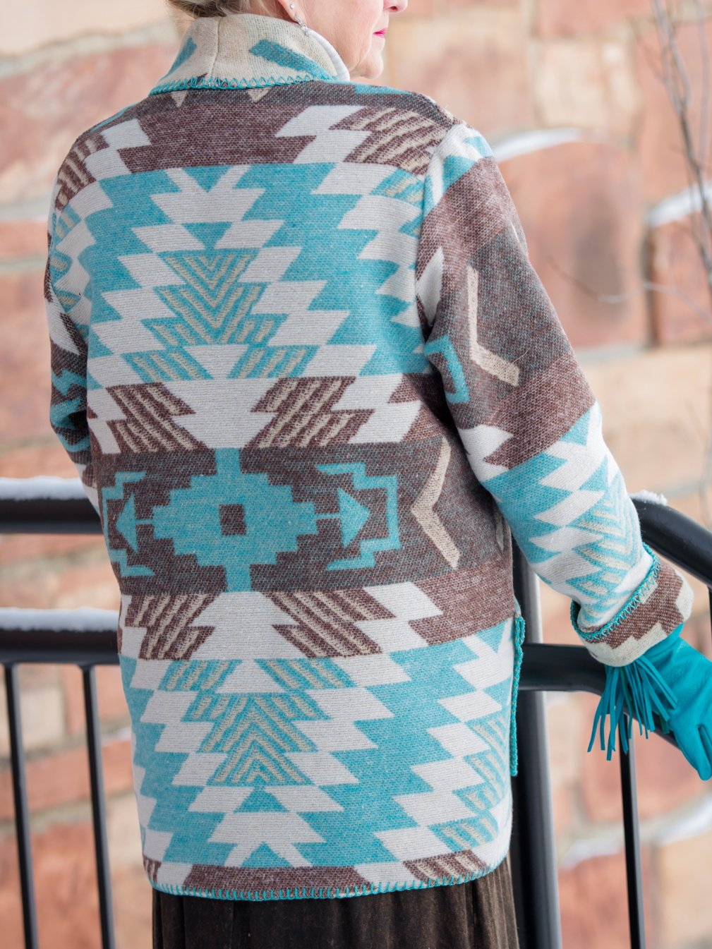Light Blue Knitted Boho Shift Outerwear