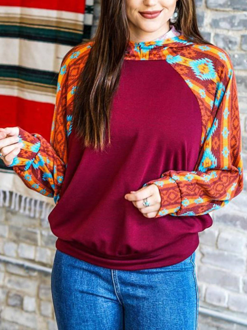 Women Cotton-Blend Geometric Long Sleeve Shift Shirts & Tops