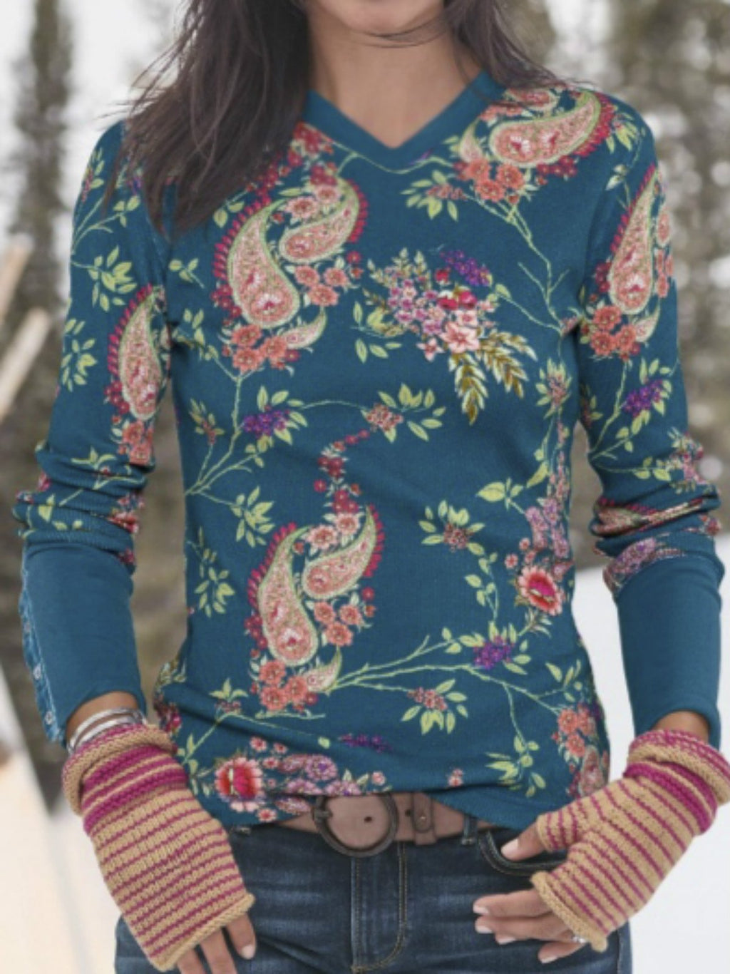 Blue Floral Boho Cotton-Blend V Neck Shirts & Tops