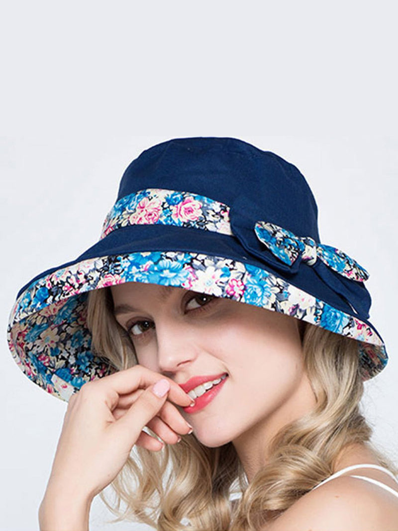 Summer Holiday Paneled Floral Printed Casual Women Hat