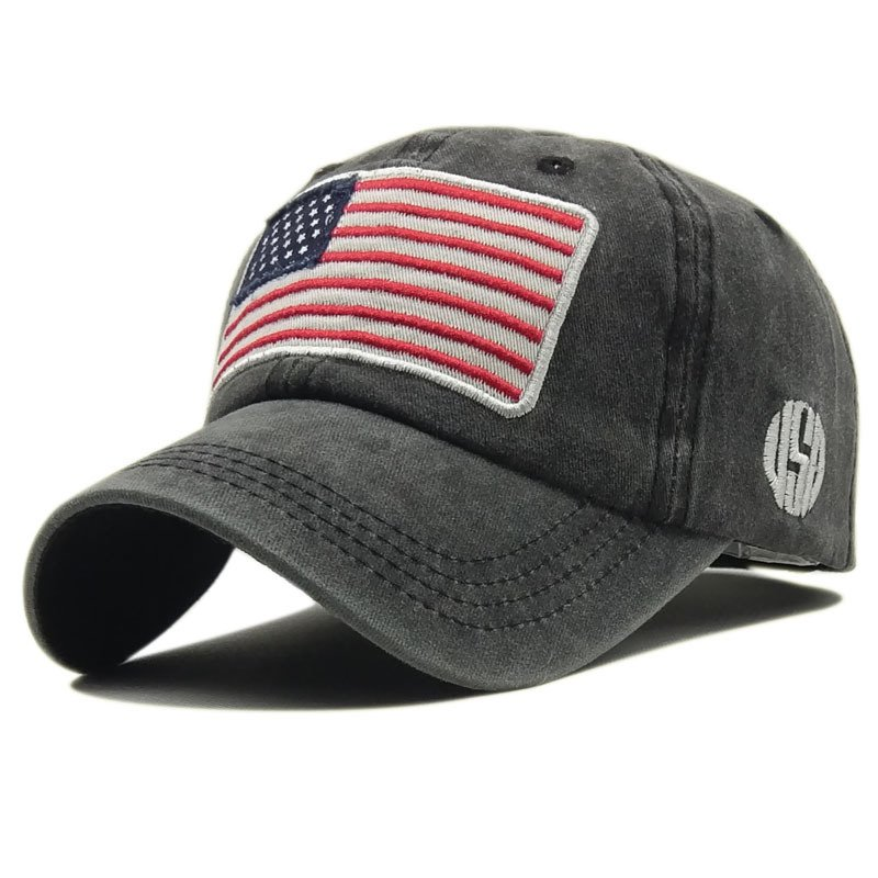 Unisex Letter Embroidered USA Flag Hat