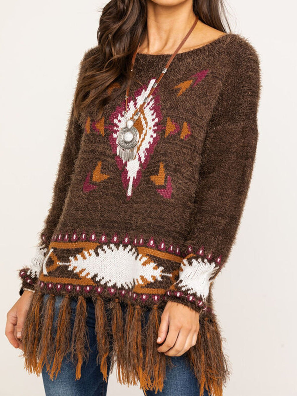 Brown Long Sleeve Geometric Sweater