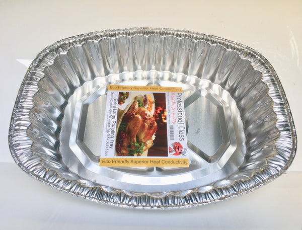 Large Disposable Foil Aluminium Roasting Baking Tray- 45.5 cm x 36.5 cm x 8.6cm - nappyworlduk